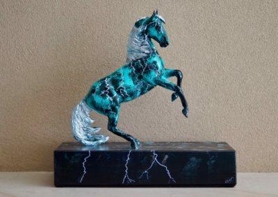 1580-Handbeschilderd Steigerend Paard